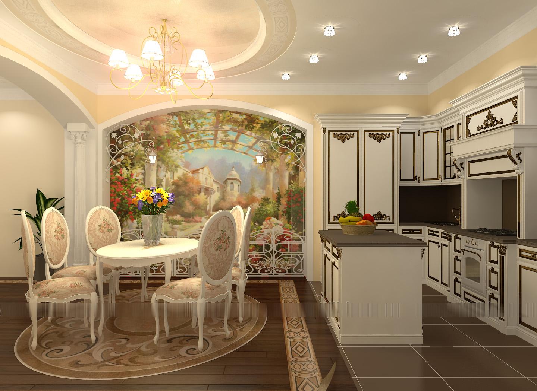 Фреска в интерьере кухни фото